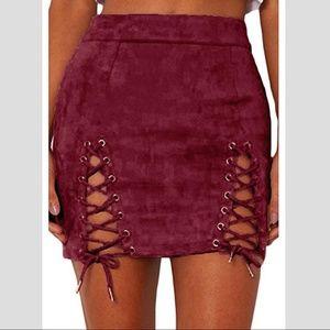 Dresses & Skirts - NWT Burgundy Side Slit Lace Up Skirt
